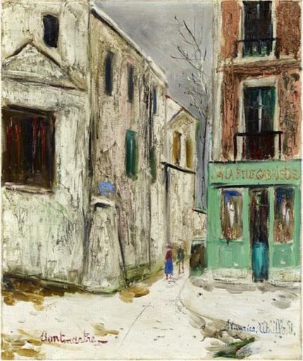 Maurice UTRILLO - Peinture - Belle Gabrielle et la rue Saint Vincent, Montmartre