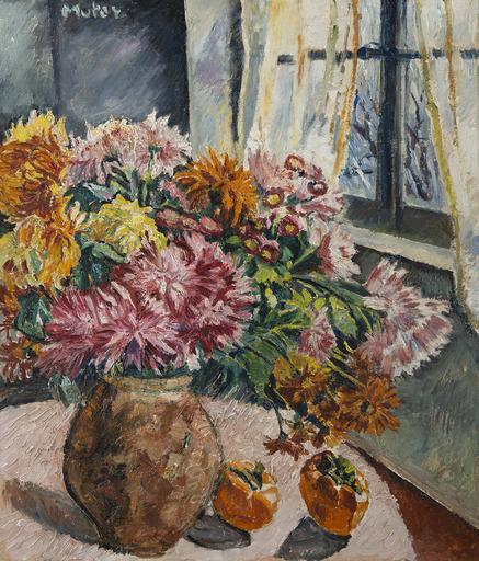 Marie Mela MUTER - Pintura - Fenêtre et bouquet de dahlias