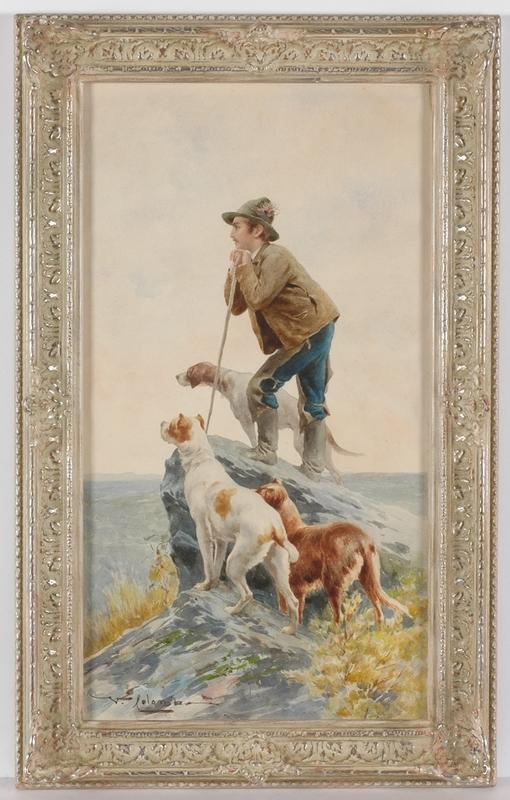 "Virgilio COLOMBO - Zeichnung Aquarell - ""Italian Shepherd"", ca.1900, Watercolor"