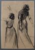 马克斯•利伯曼 - 水彩作品 - Double Study of a Woman's Back with outstretched Arms 