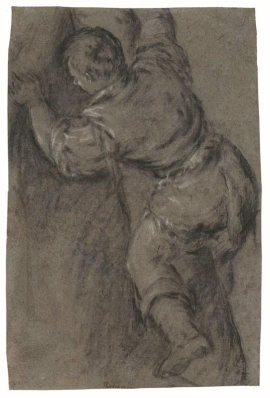 Francesco II BASSANO - Drawing-Watercolor - Homme se hissant dans un arbre