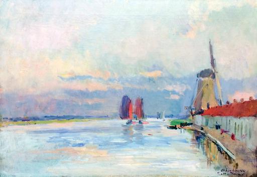 Charles Auguste LEBOURG - Peinture - Le Moulin a Vent sur le Canal a Rotterdam