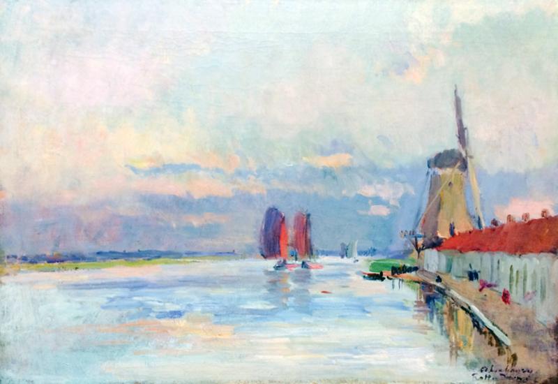 Charles Auguste LEBOURG - Pintura - Le Moulin a Vent sur le Canal a Rotterdam