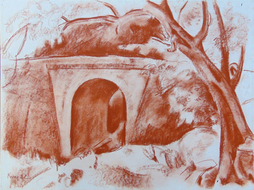 Charles KVAPIL - Dibujo Acuarela - Landscape in Corsica with Bridge