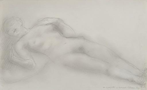 Auguste RODIN - Disegno Acquarello - Femme nue allongée