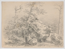 "Remigius Adrianus VAN HAANEN - Drawing-Watercolor - ""Landscape Study"", Drawing"