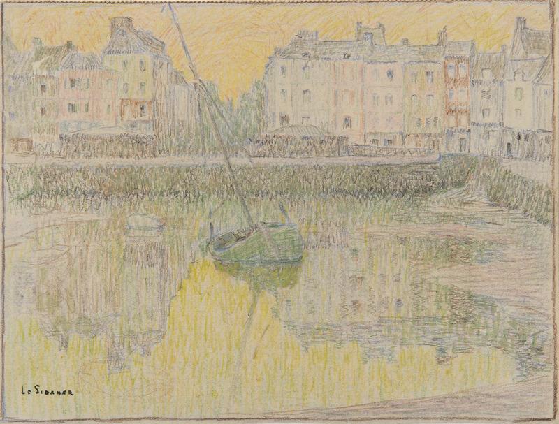 Henri LE SIDANER - Dessin-Aquarelle - Le vieux bassin, Honfleur