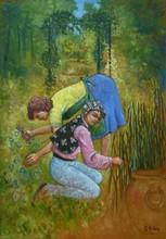 Carlos ESTEBAN - Painting - Au jardin N°1 (Cat N° 3458)