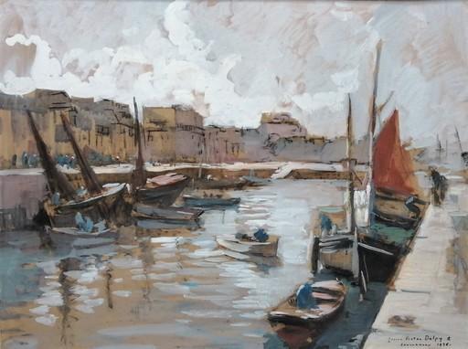 Lucien Victor Félix DELPY - Zeichnung Aquarell - Le port de Concarneau