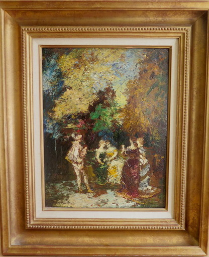 Adolphe MONTICELLI - Pintura - Personnages dans un parc