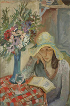 Jacques CHAPIRO - Pintura - Woman in an Interioir Reading a Book