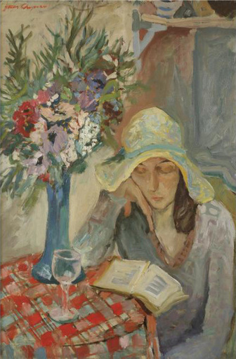 Jacques CHAPIRO - Painting - Woman in an Interioir Reading a Book