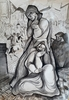 Béla KADAR - Disegno Acquarello - Double sides work: Group of Figuers- Two Women