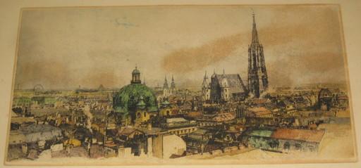 Luigi KASIMIR - 版画 - Wien, Ansicht mit Stephansdom