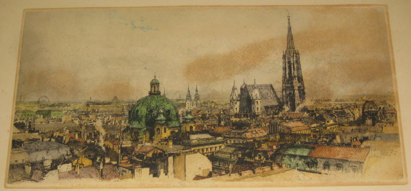 Luigi KASIMIR - Druckgrafik-Multiple - Wien, Ansicht mit Stephansdom