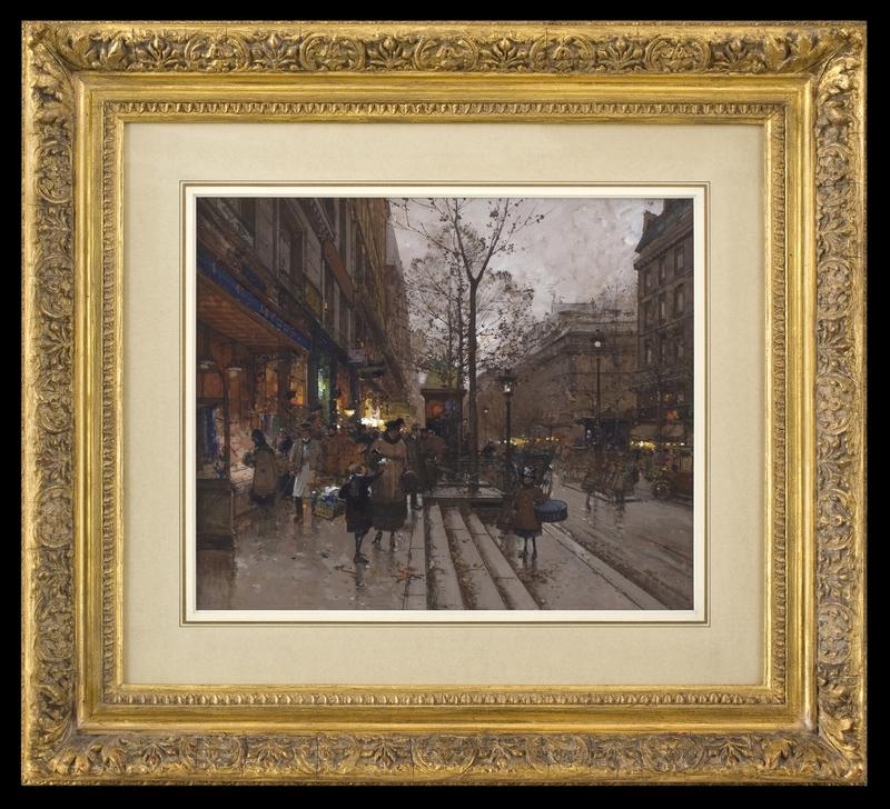 Eugène GALIEN-LALOUE - Zeichnung Aquarell - Les Grands Boulevards, Paris