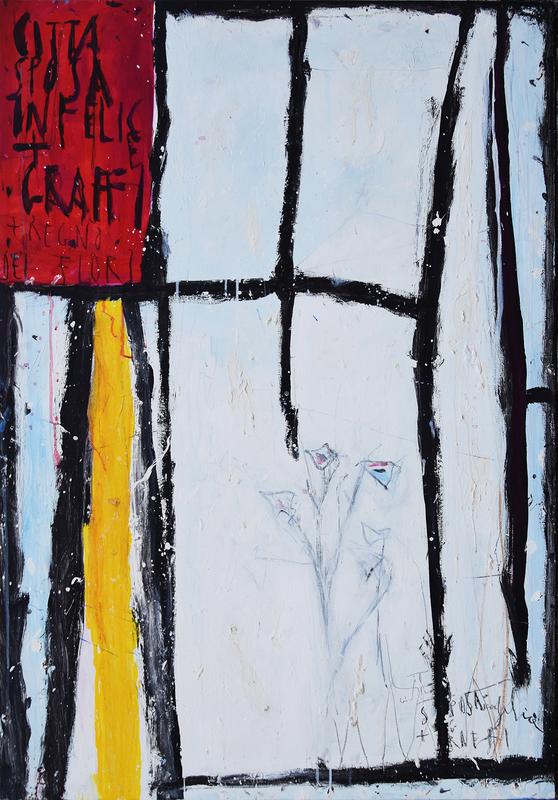 Nicola DE MARIA - Pittura - Citta' sposa infelice+ graffi+ regno dei fiori
