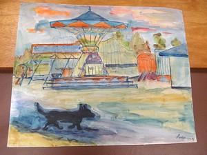 Franziskus DELLGRUEN - Drawing-Watercolor - Jahrmarkt mit Kettenkarussell