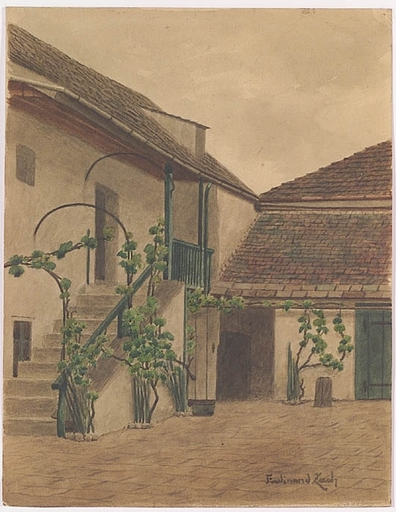 """Ferdinand ZACH - Drawing-Watercolor - """"Beethoven's House in Vienna"""", ca 1900"""