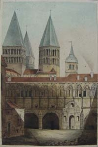 Dibujo Acuarela - abbaye de Cluny, avant