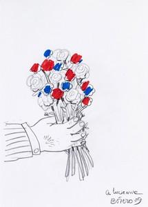 Fernando BOTERO - Disegno Acquarello - Bouquet de fleurs