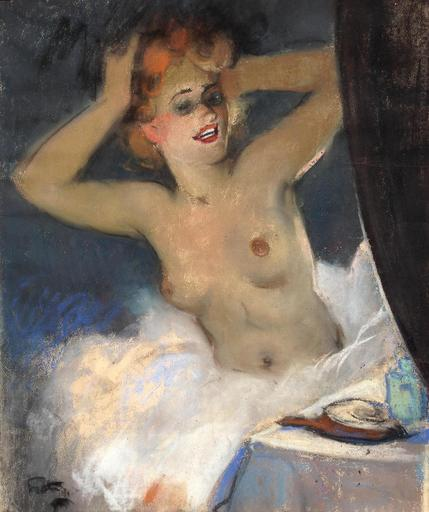 Louis FORTUNEY - Dibujo Acuarela - danseuse au miroir,opéra paris 1906
