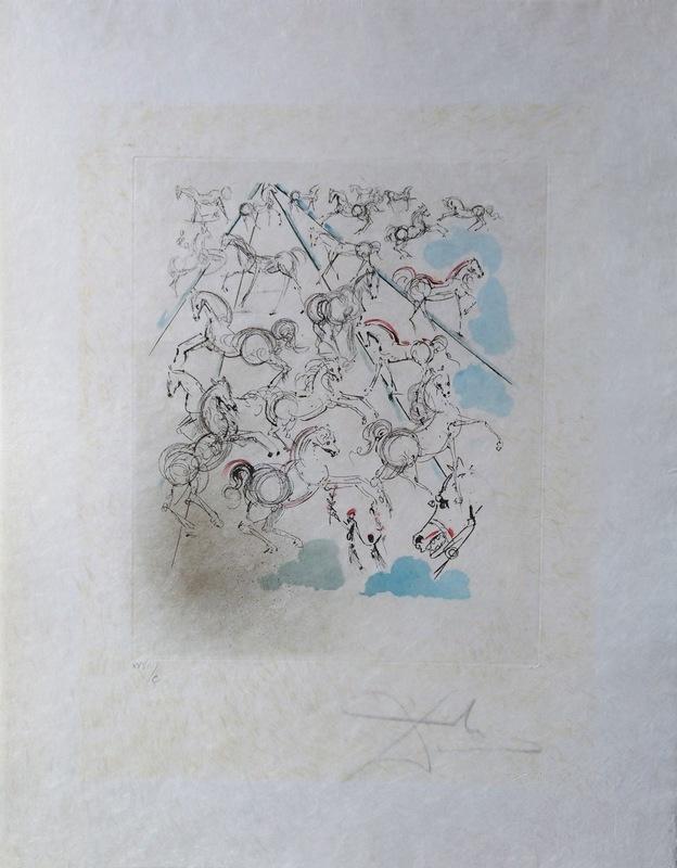 Salvador DALI - Print-Multiple - Blue Horses