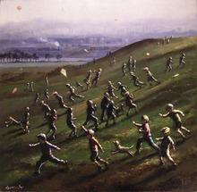 Barry LEIGHTON-JONES - Painting - Kite Flying