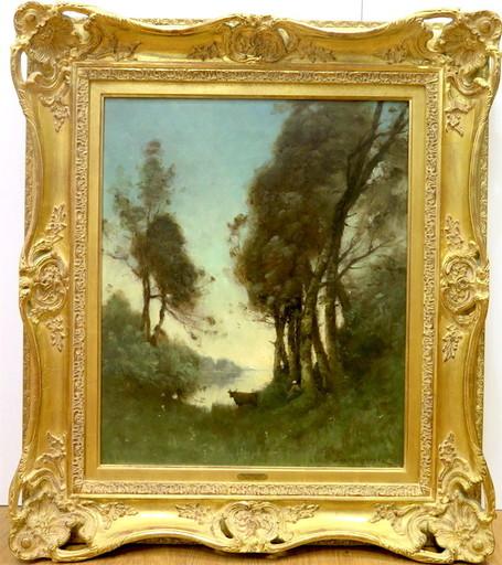 Paul Désiré TROUILLEBERT - Pittura - la gardienne de vaches (lac de Nantua)