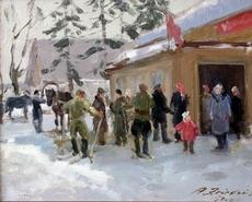 Aleksandrs ZVIEDRIS - Painting - Winter in the kolkhoz