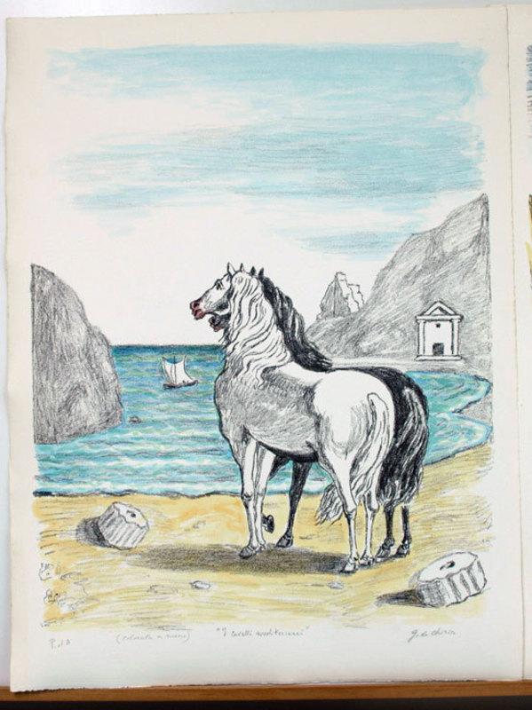 Giorgio DE CHIRICO - Stampa Multiplo - I cavalli in riva al tirreno, 1970