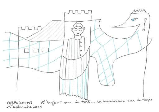 Reine BUD-PRINTEMS - Zeichnung Aquarell -  L'enfant sur le toit...sa maman sur le tapis