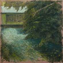 Carlos ESTEBAN - Painting - Sur l'Andelle - vert    (Cat N° 3447)