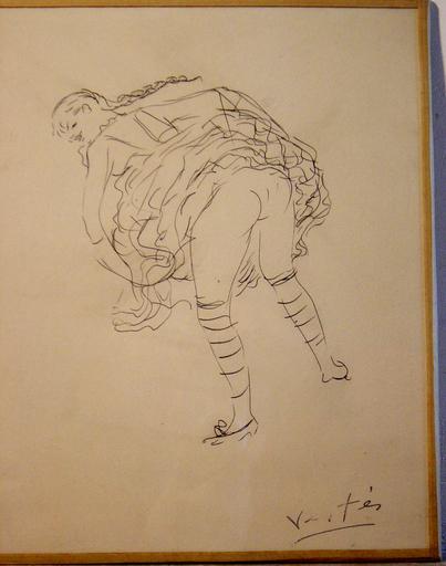 Marcel VERTES - Zeichnung Aquarell - Fanny