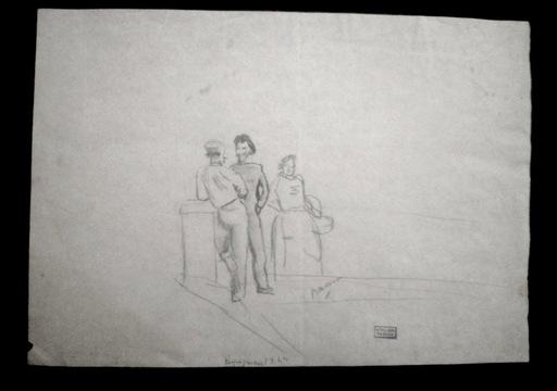 Jules PASCIN - Drawing-Watercolor - La causette à Perpignan