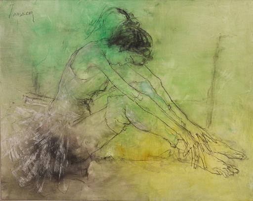 Jean JANSEM - Pintura - BALLERINE ASSISE AVEC FOND VERT