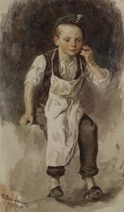 """Theodor BREITWIESER - Drawing-Watercolor - """"Break"""" by Theodor Breitwieser, 1881, Watercolour"""