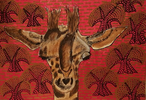 Annemarie HOFFMANN - Painting - Giraffenportrait mit Bäumen    (Cat N° 5849)
