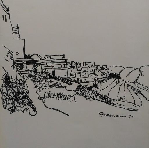 Joseph PRESSMANE - Dibujo Acuarela - PAYSAGE