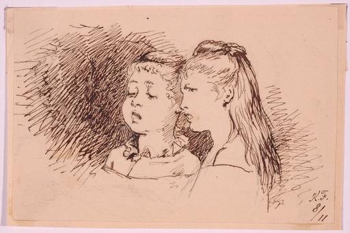 """Carl FRÖSCHL - Zeichnung Aquarell - """"Singing Girls"""", Late 19th Century"""