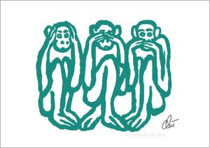 Jacqueline DITT - Print-Multiple - Three wise Monkeys - light petrol