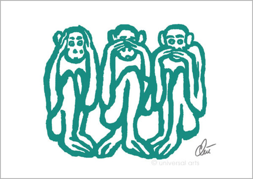 Jacqueline DITT - Druckgrafik-Multiple - Three wise Monkeys - light petrol