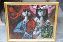 XAM - Painting - MUJER CON JAULA Y HOMBRE