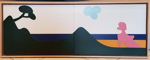 Claude GILLI - Dibujo Acuarela - Le bain de soleil