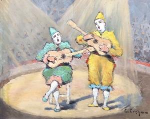 Edouard EVENO - Dessin-Aquarelle - Les clowns au cirque