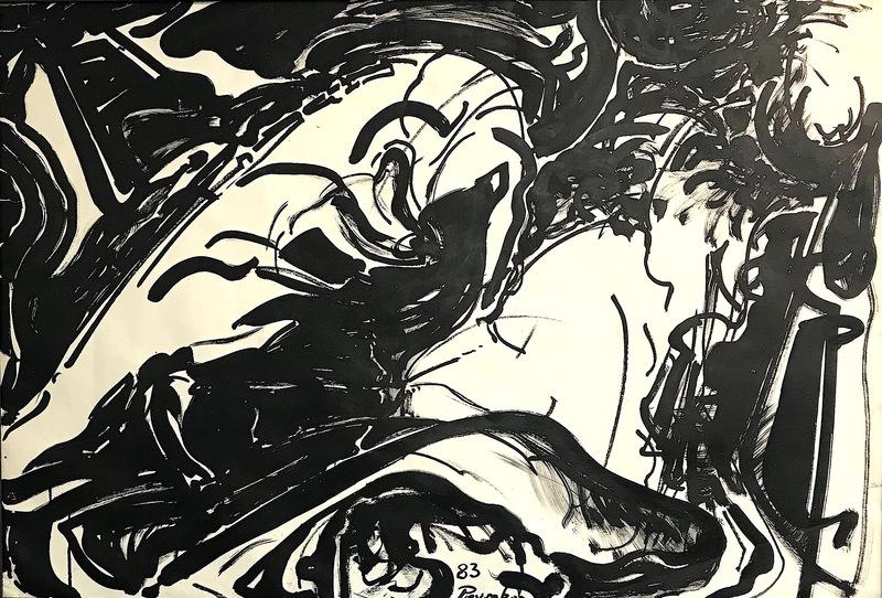 """Alkis PIERRAKOS - Drawing-Watercolor - """"Un"""""""