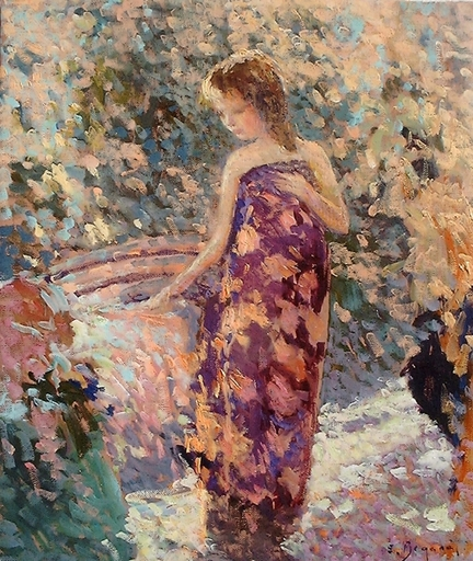 Eugène BEGARAT - Pintura - Lauren en paréo