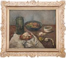 Adolphe FEDER - Painting - Nature morte au bocal et plateau de fruits
