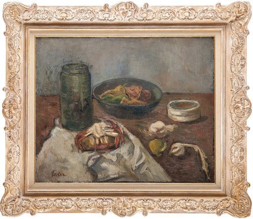 Adolphe FEDER - Painting - Nature morte au bocal et plateau de fruits