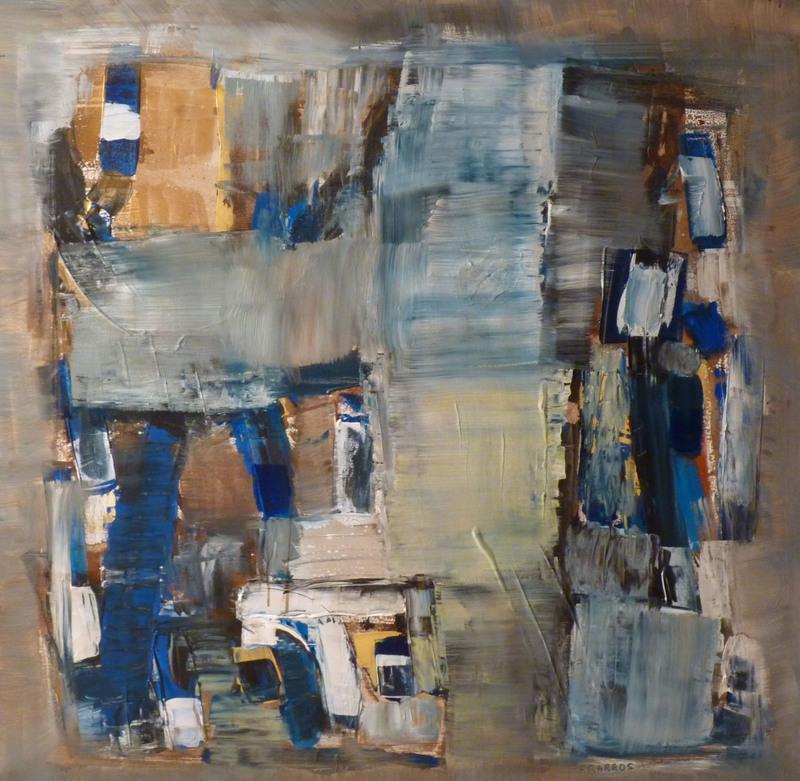François GARROS - Painting - Construction Bleue et or